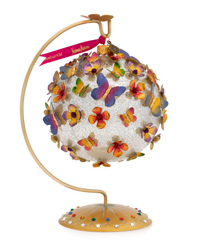 Rainbow Butterfly Glass Ornament