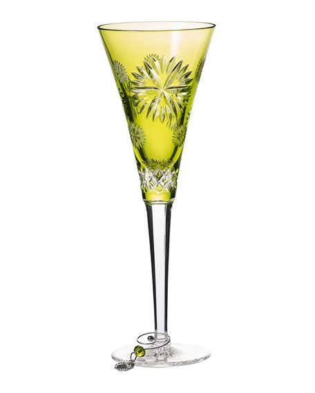 Waterford Crystal Snowflake Wishes Prosperity Champagne Flute, Lime