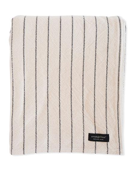 Evangeline Linens Pinstripe Herringbone Cotton Blanket
