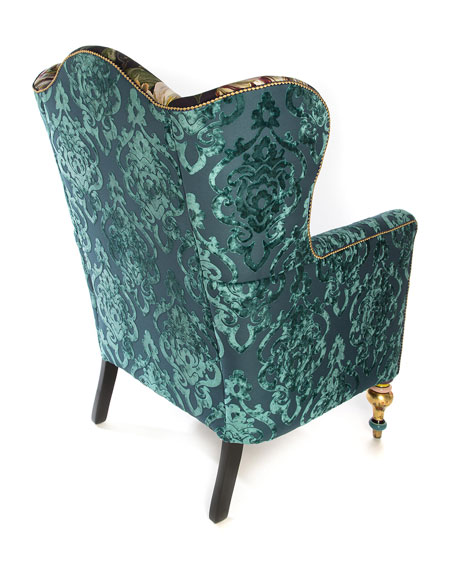 Image 3 of 6: MacKenzie-Childs Moonlight Garden Off The Record Wing Chair