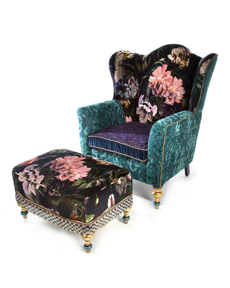 Image 4 of 6: MacKenzie-Childs Moonlight Garden Off The Record Wing Chair