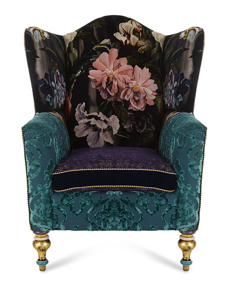 Image 5 of 6: MacKenzie-Childs Moonlight Garden Off The Record Wing Chair