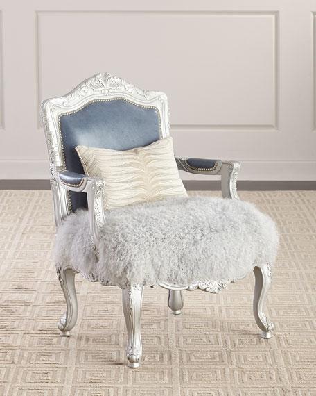 Massoud Emory Leather & Sheepskin Bergere Chair
