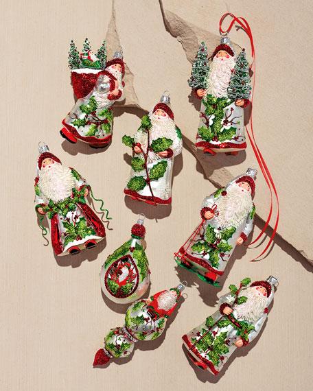 Patricia Breen Santa with Pine Cone Walking Stick Ornament