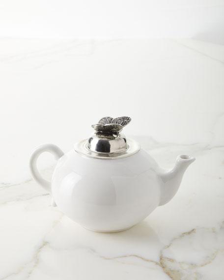 Neiman Marcus Ceramic Pewter Teapot