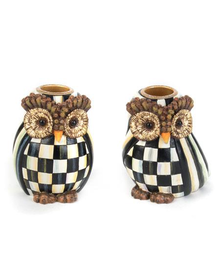 MacKenzie-Childs Owl Candlestick Holders, Set of 2
