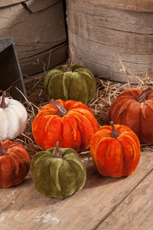 Bethany Lowe Velveteen Pumpkins in Bag, Set of 7