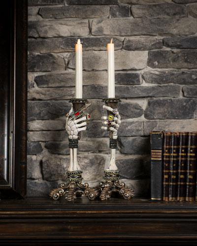 Skeleton Hand Candlestick Holders  Set of 2