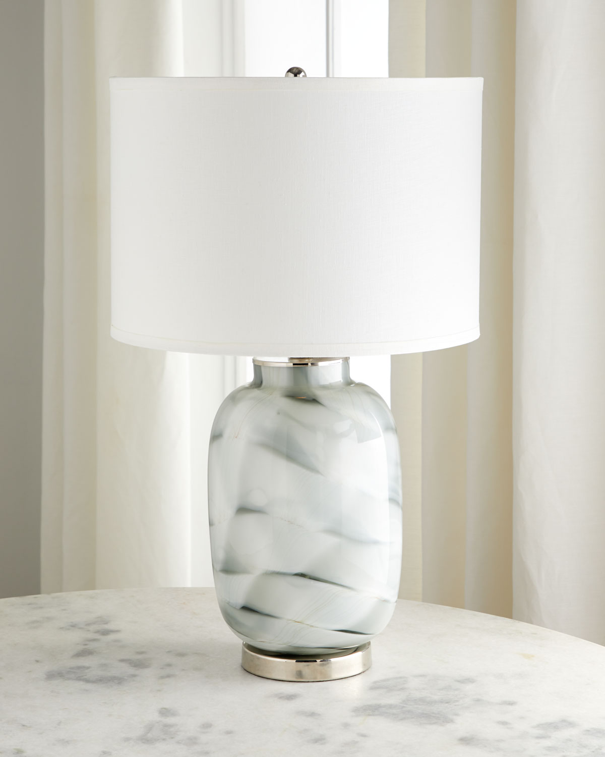 Jamie Young Gray Swirl Glass Table Lamp