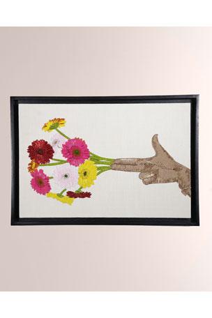 Jonathan Adler Flower Hand Beaded Wall Art