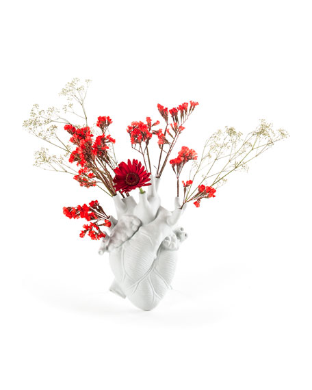 "Seletti ""Love In Bloom"" Porcelain Heart Vase"