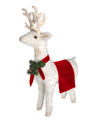 White Reindeer Footrest with Bright Red Trim