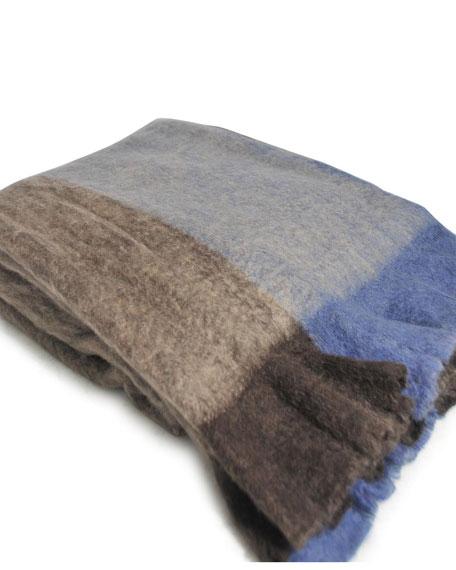 J. Alexander Rustic Silver Striped Throw Blanket
