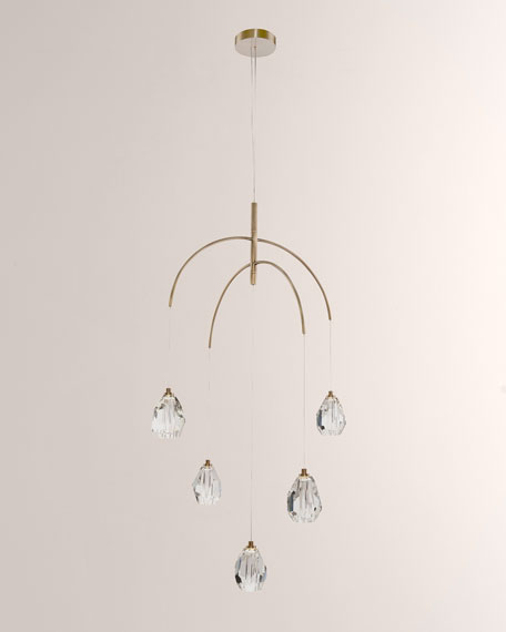 John-Richard Collection Faceted Crystal 5-Light Chandelier
