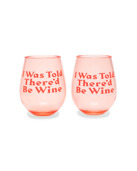 Ban.do I Was Told There'd Be Wine Party On Wine Glasses, Set of 2