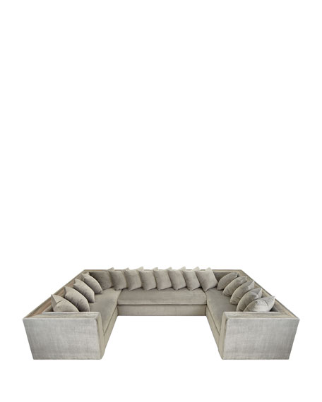 Image 3 of 4: Haute House Donovan Tile Trimmed Sectional Sofa with 17 Pillows