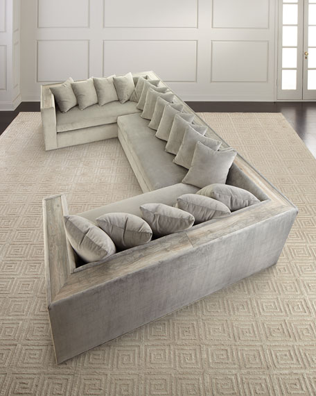Image 1 of 4: Haute House Donovan Tile Trimmed Sectional Sofa with 17 Pillows
