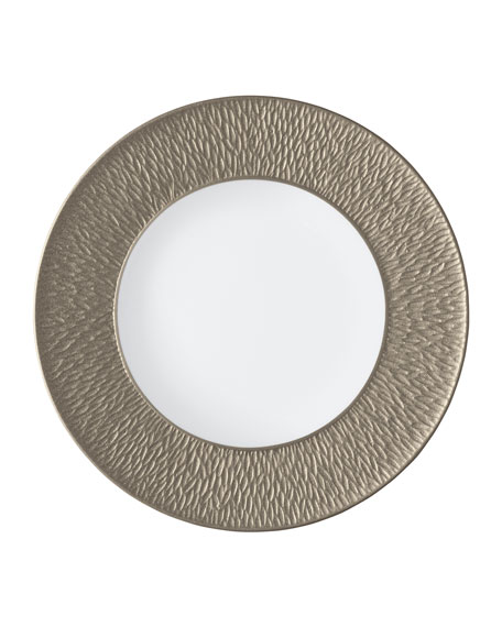 Raynaud Mineral Irise Warm Gray Engraved Dinner Plate