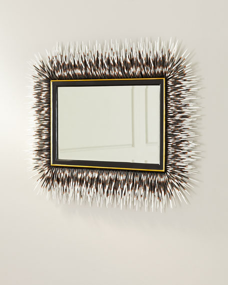 Image 4 of 4: Porcupine Quill Rectangle Mirror