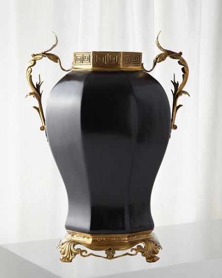 Global Views Vase with Brass Lid & Handles