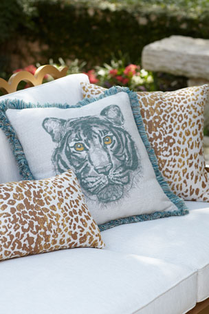 Elaine Smith Bengal Mist Fringed Indoor/Outdoor Pillow