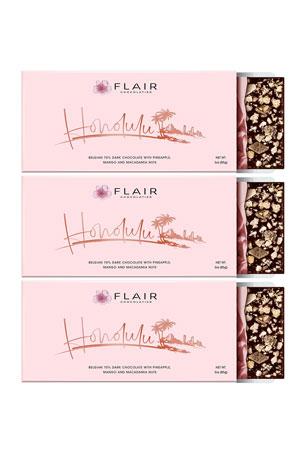Flair Chocolatier Set of 3 Honolulu Belgian Dark Chocolate Bars