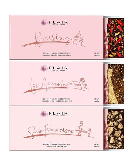 Flair Chocolatier Set of Los Angeles, San Francisco and Beijing Dark Chocolate Bars