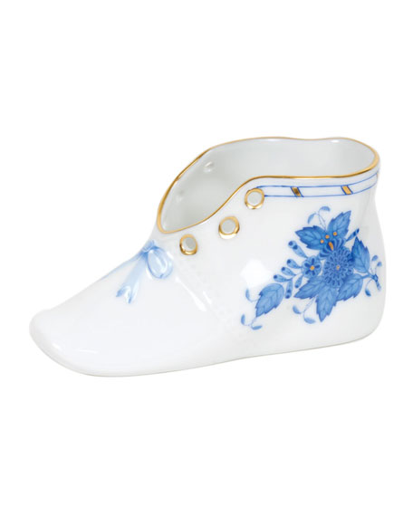 Herend Chinese Bouquet Blue Porcelain Baby Shoe Keepsake