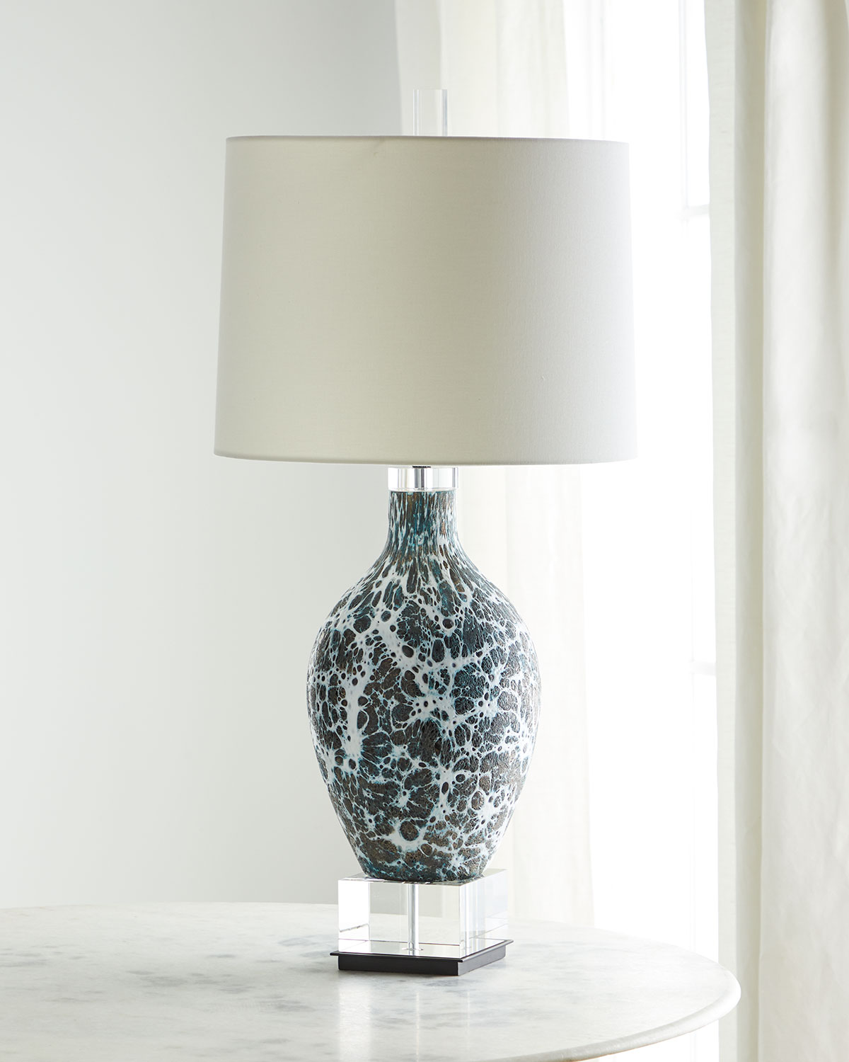 John-Richard Collection Webs of Charcoal & White Glass Table Lamp