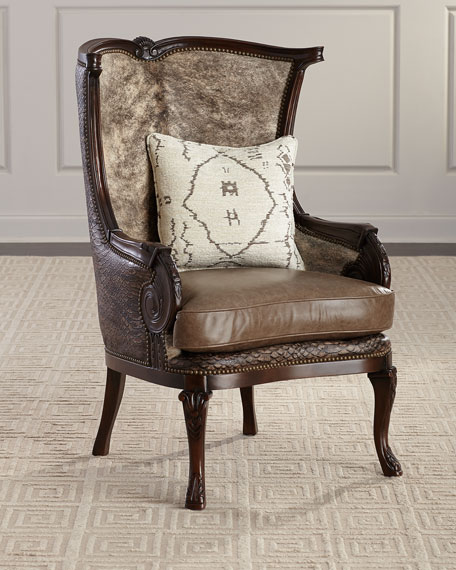 Massoud Picayune Leather Wing Chair
