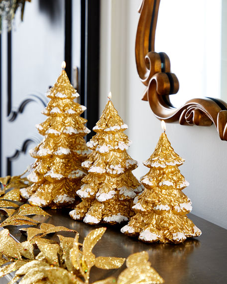 Image 3 of 3: Small Gold Xmas Tree Candle