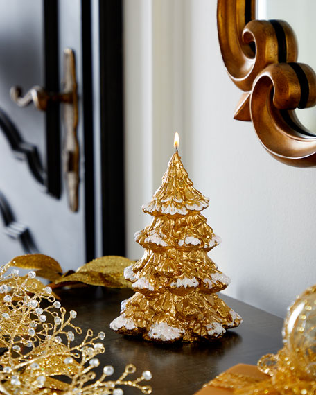 Image 1 of 3: Small Gold Xmas Tree Candle
