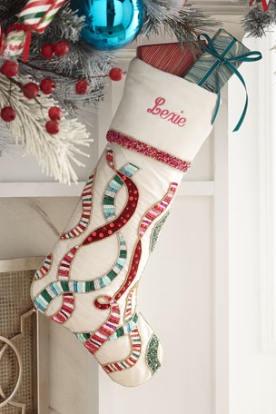 Kim Seybert Sweet Holiday Stocking, Personalized