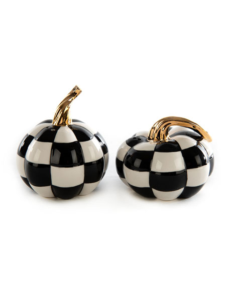 Image 1 of 2: MacKenzie-Childs Mod Pumpkin Salt and Pepper Shakers Set