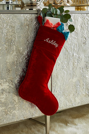 "D. Stevens 23"" Velvet Stocking, Red"