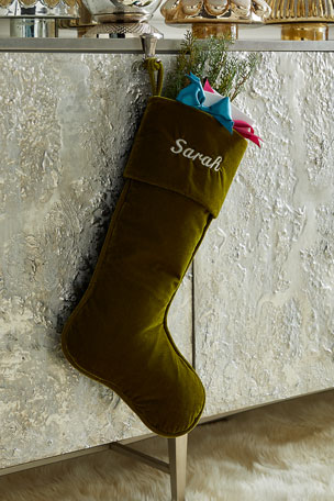"D. Stevens 23"" Velvet Stocking, Pine Green"