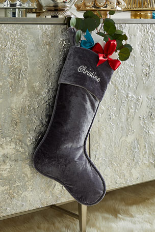 "D. Stevens 23"" Velvet Stocking, Dove Gray"