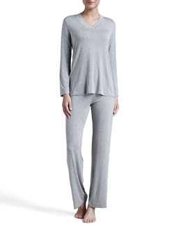 Hanro Champagne Jersey Pajamas