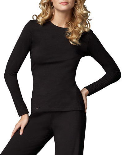 La Perla Tricot Long-Sleeve Top, Black