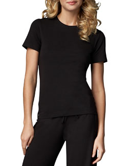 La Perla Tricot Short-Sleeve Top, Black