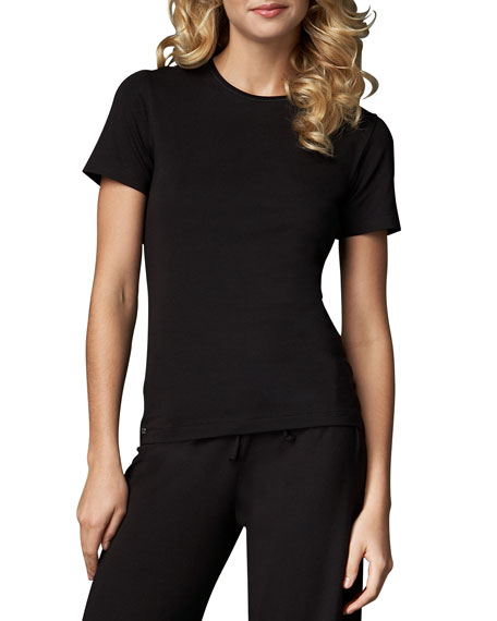 Tricot Short-Sleeve Top, Black