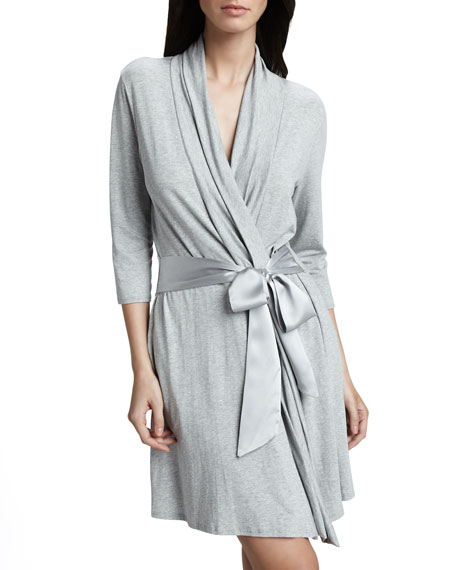 Take Me Away Travel Robe w/Silk Inset Belt and Hidden Pockets, Heather Gray