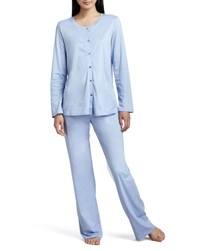 Hanro Tonight Button-Up Pajamas, Blue Bell