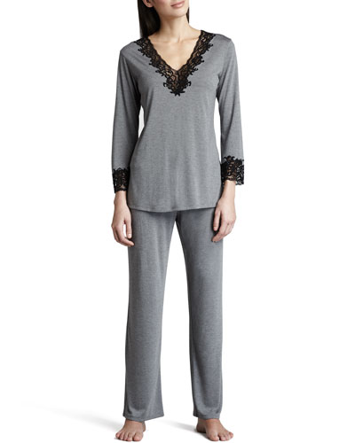 Natori Lhasa Jersey Pajamas, Heather Gray