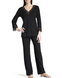 Natori Lhasa Jersey Pajamas, Black