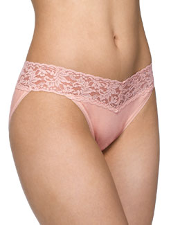 Hanky Panky Signature Lace Organic Cotton V-Kini Panties, Basic Colors