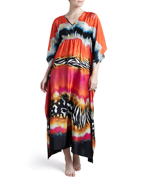 Mayon Gathered Charmeuse Caftan