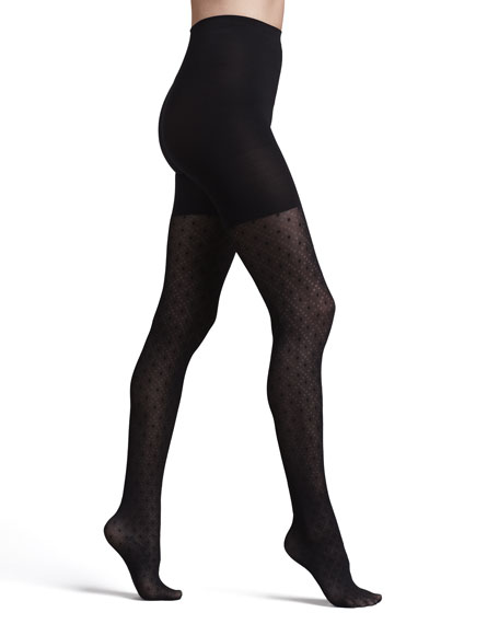 Tight-End Peek-A-Boo Patterned Tights, Dotted Lines
