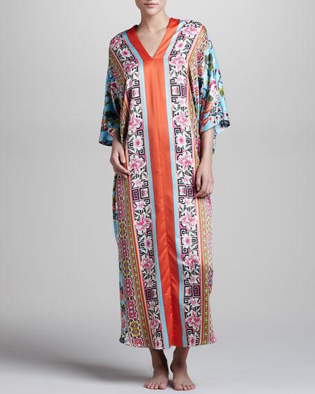 Porcelain Printed Caftan Long Nightgown