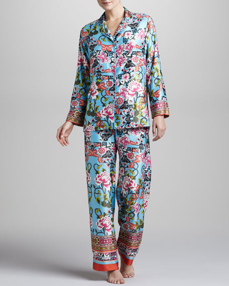 Porcelain Printed Two-Piece Pajama Set
